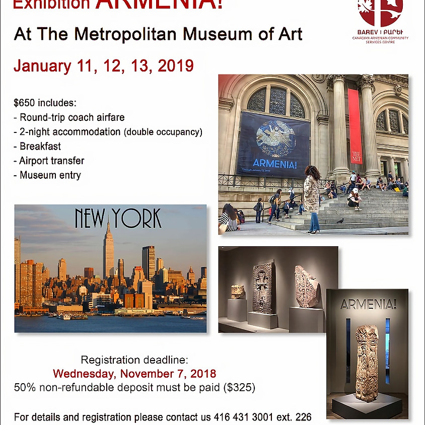 Exhibition Armenia! in New York City! Fully Booked!
