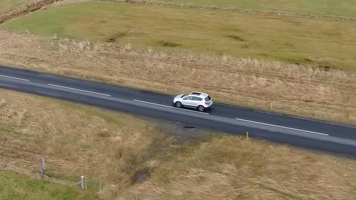 Scary stuff - flying the drone alognside the car whilst moving