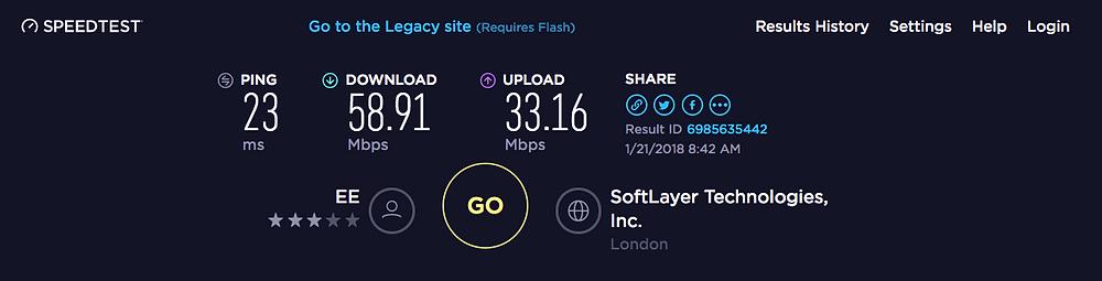 OOKLA Broadband Speed Test