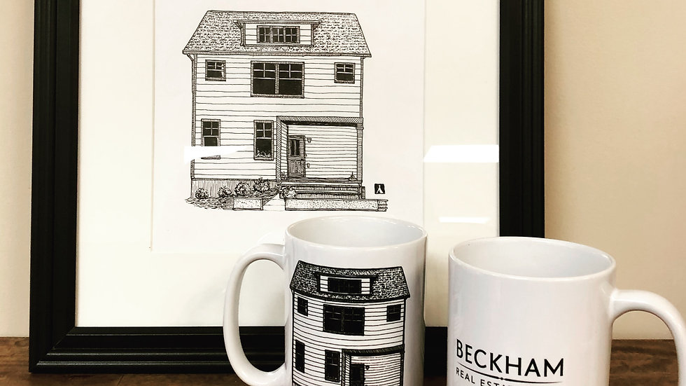 Home Drawing On Two 11 Oz Coffee Mugs With Unframed Print