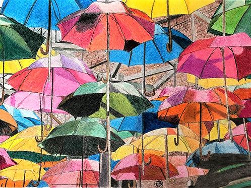 Parasols de toutes les couleurs.