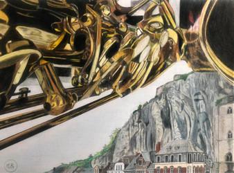 Un saxophone plane sur Dinant
