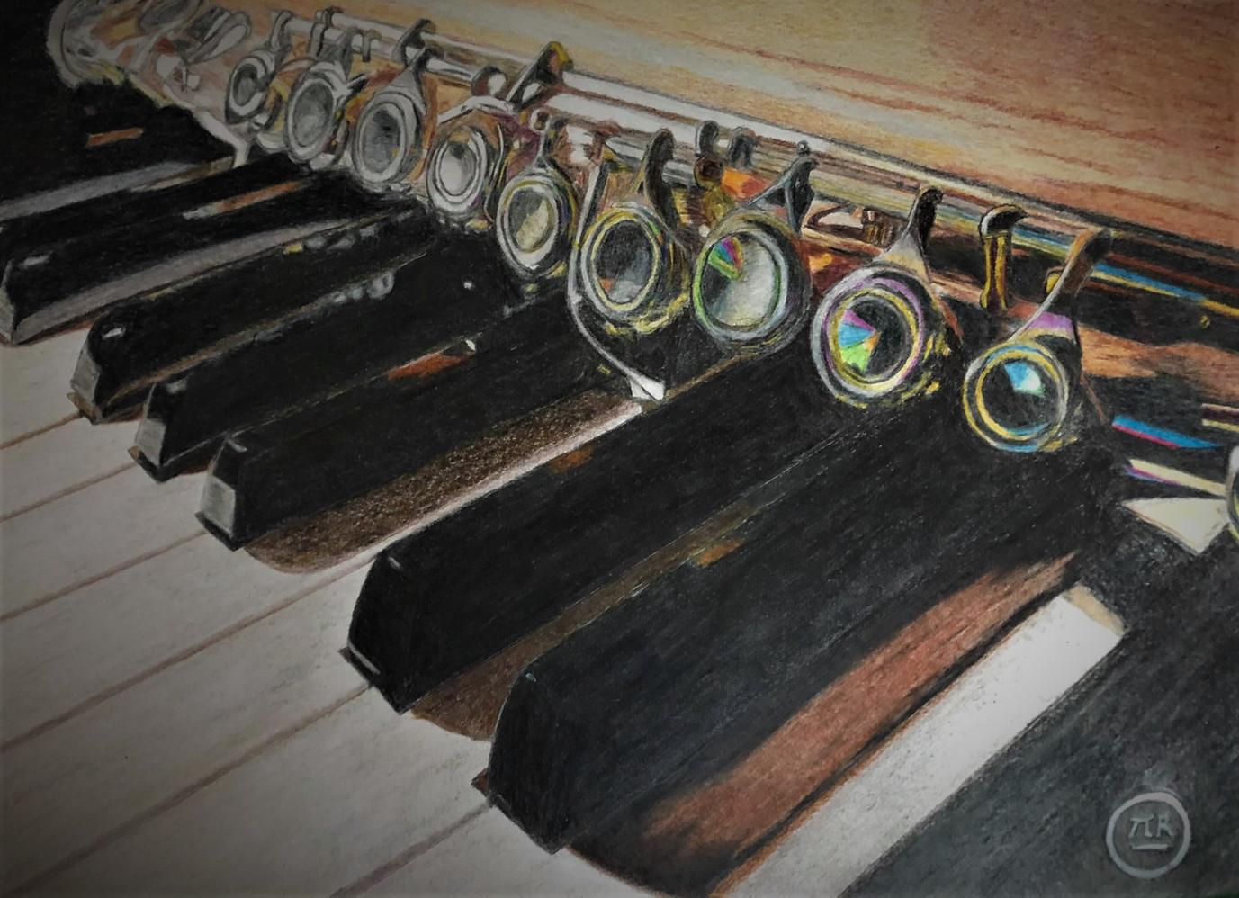 Flûte sur piano