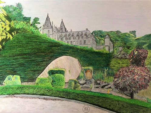 Parc des Topiaires avec vue sur le château de Durbuy.