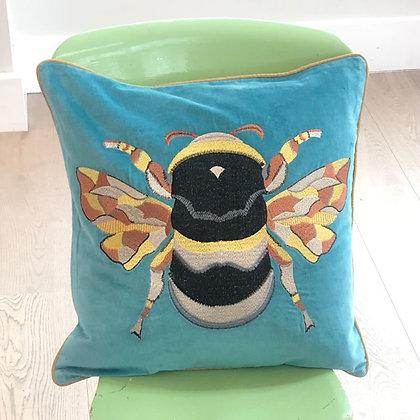 Velvet Bee Cushion - Teal