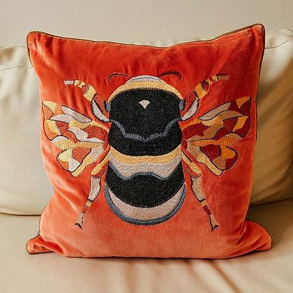 Velvet Bee Cushion - Rust
