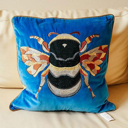 Velvet Bee Cushion - Blue