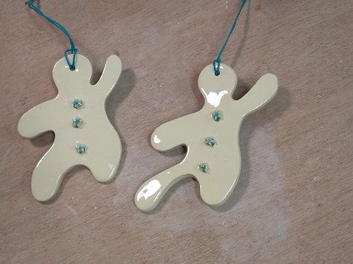 Biscuit de Noël - blanc et bouton étoile bleue