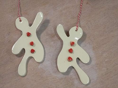 Biscuit de Noël - blanc et coeur rouge