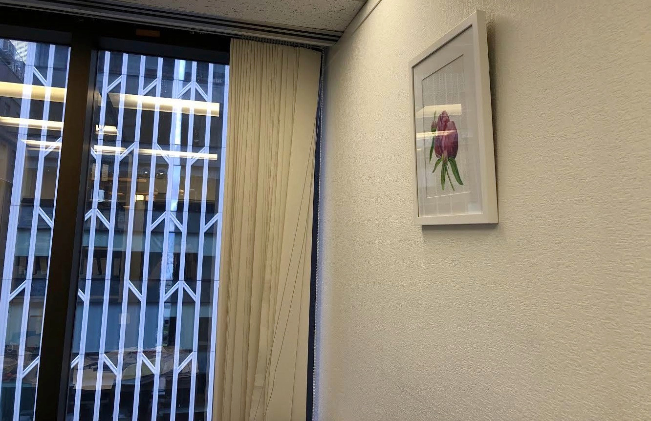 """Red Peony"" on an office wall"