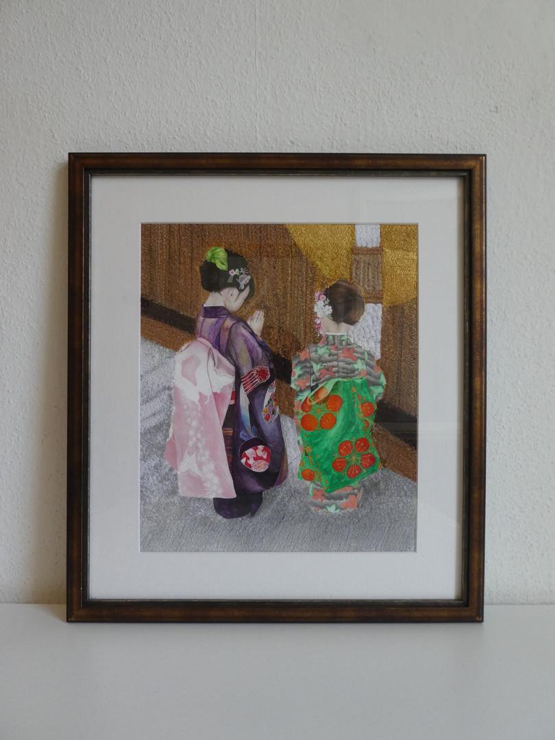 """Girls in kimonos"" in a living room"
