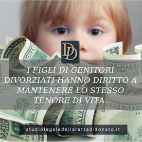 MANTENIMENTO: I FIGLI HANNO IL DIRITTO DI MANTENERE LO STESSO TENORE DI VITA IN CASO DI DIVORZIO.