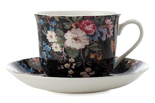 """Чашка с блюдцем """"Полночные цветы"""" 0.48л"""