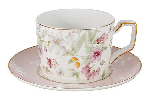 """Чашка с блюдцем """"Цветы"""" 0.22л"""