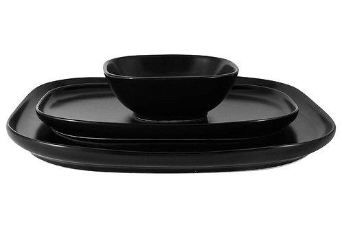 """Набор """"Форма"""" чёрный: 2 тарелки 23.5 и 28см + салатник 12см"""