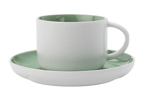 """Чашка с блюдцем """"Оттенки""""(мятная) 0.25л"""