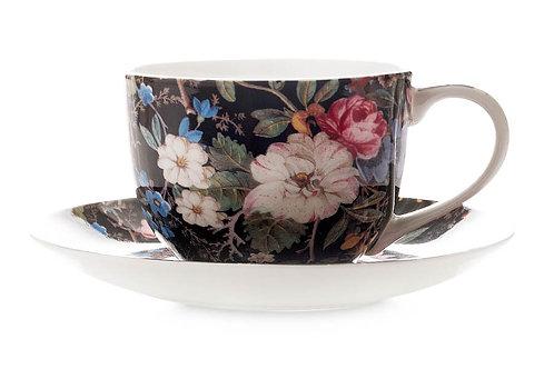 """Чашка с блюдцем """"Полночные цветы"""" 0.25л"""