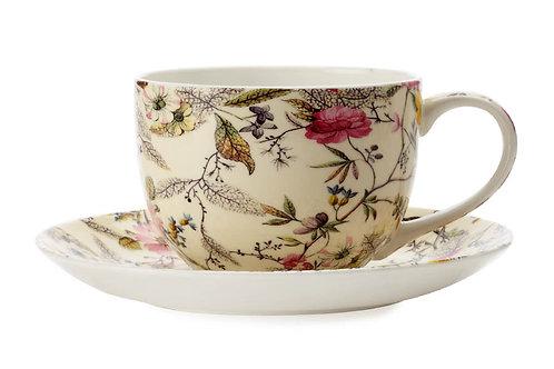 """Чашка с блюдцем """"Летние цветы"""" 0.25л"""