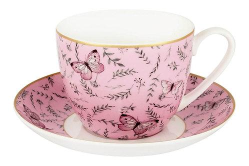 """Чашка с блюдцем """"Камея"""" (розовая) 0.42л"""