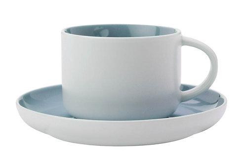 """Чашка с блюдцем """"Оттенки""""(голубая) 0.25л"""