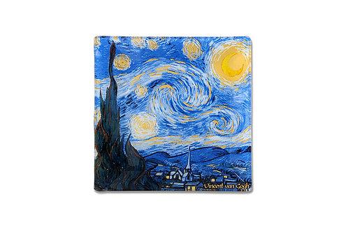 """Тарелка квадратная """"Звездная ночь"""" (В.ван Гог) 13х13 см"""