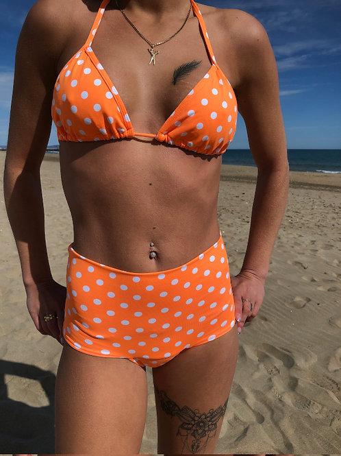 Culotte Haute Triangle Orange à Pois