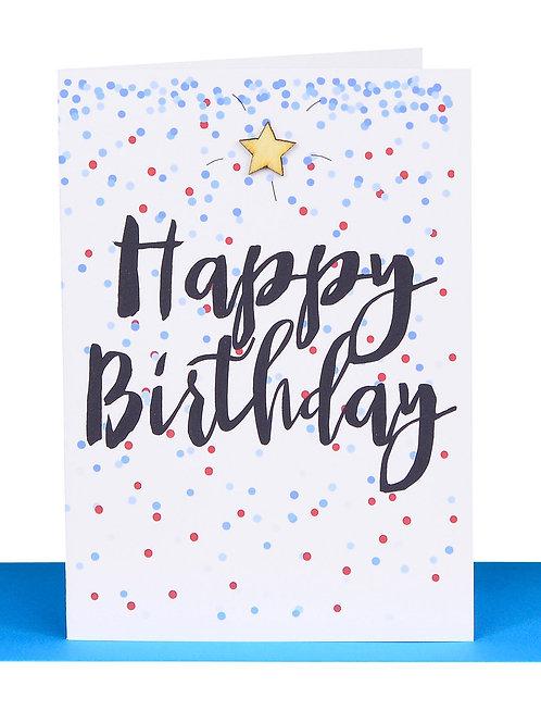 Greeting Card - Happy Birthday Blue confetti gold star