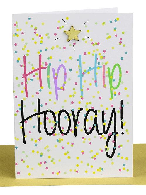 Greeting Card - Hip Hip Hooray! Gold Star