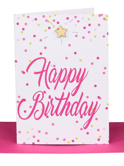 Greeting Card - Happy birthday pink confetti