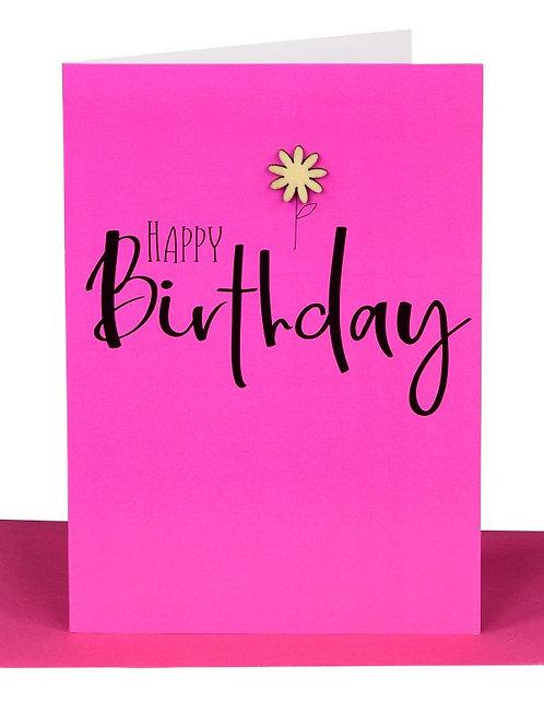 Greeting Card - Happy birthday pink flower