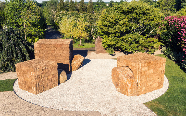 PERMANENT TRANSIENCE, 2016, a site-responsive installation, 3 cubic forms made of hay bales with metal armatures; 11 ft H x 52 ft diameter; Marders Nursery, Bridgehampton, NY; Parrish Road Show, Parrish Art Museum  Olga Goworek photography