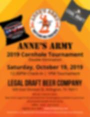 Annes Army 2019 Cornhole flyer bbq 8x11.