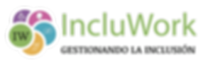 Logo Incluwork, gestionando la inclusión, círculos unidos en colores verde, violeta, roza, celestey naranja con los símbolos de cada discapacidad