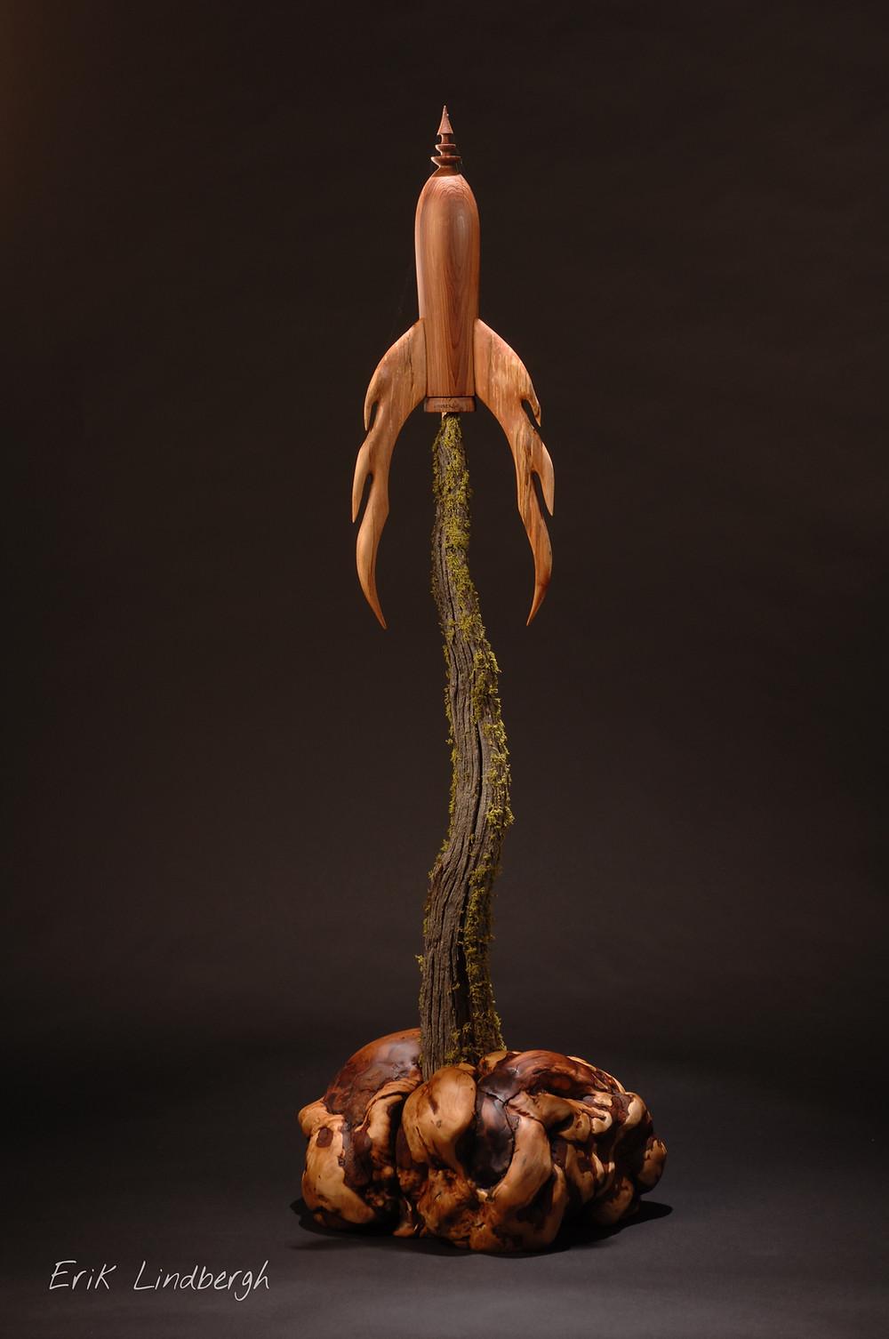 Escape From Grey Matter wood sculpture by Erik Lindbergh