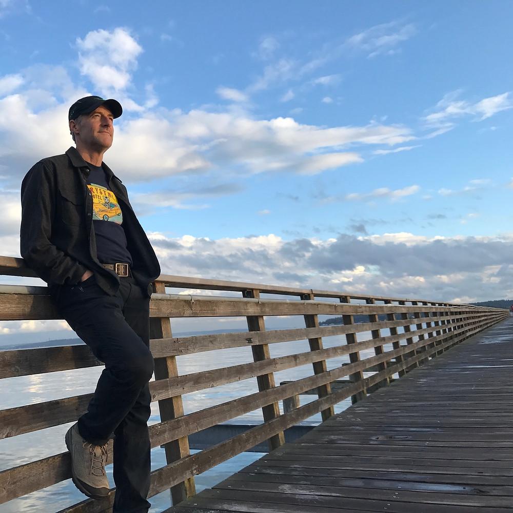 Erik Lindbergh on puget sound dock. photo by Lyn Lindbergh
