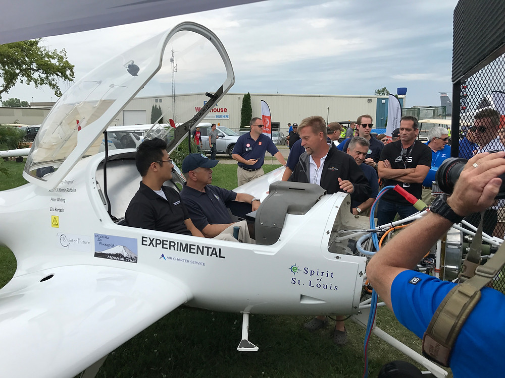 Photo of electric eSpirit of St. Louis aircraft at Oshkosh Airventure with FAA administrator sitting in it