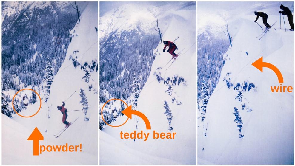 Erik Lindbergh cliff jumping into Teddy Bear Chute. Photo by Roger Barnett
