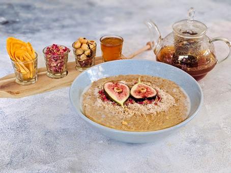 Chai Tea Porridge with Fig and Hazelnuts