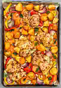 Oven tray with roasted veggies and chicken