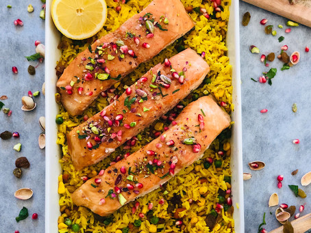 Honey/maple syrup salmon with yellow rice
