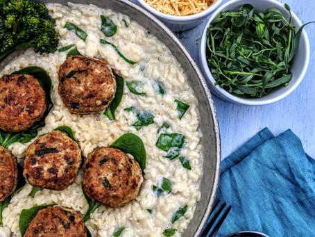 Spinach and tarragon chicken balls