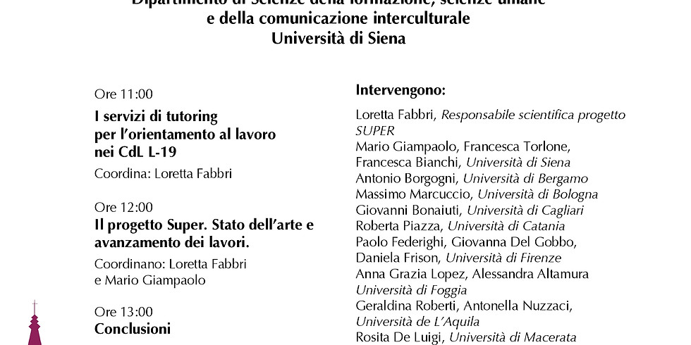 """Workshop """"I servizi di tutoring per l'orientamento al lavoro nei CdL L-19"""""""