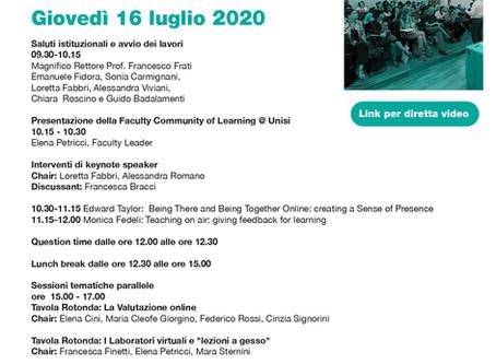 """Convegno""""Didattica attiva blended nell'Higher Education. Riflessioni in corso"""" 16 luglio 2020"""