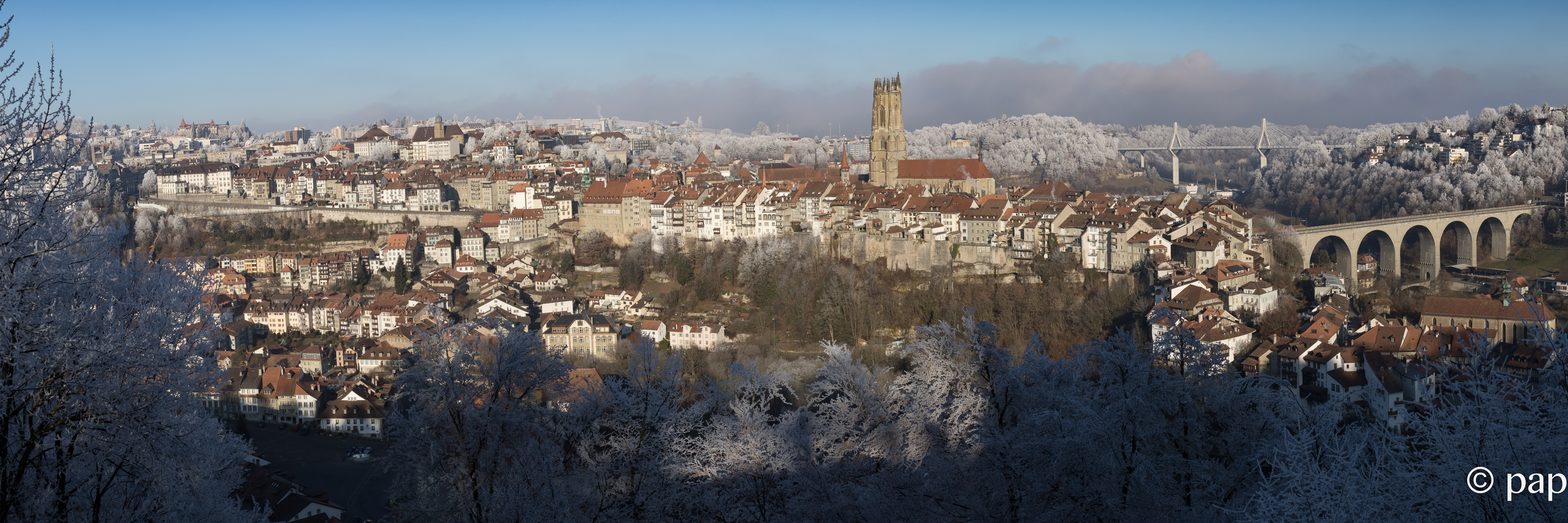 Panorama Fribourg sous le givre