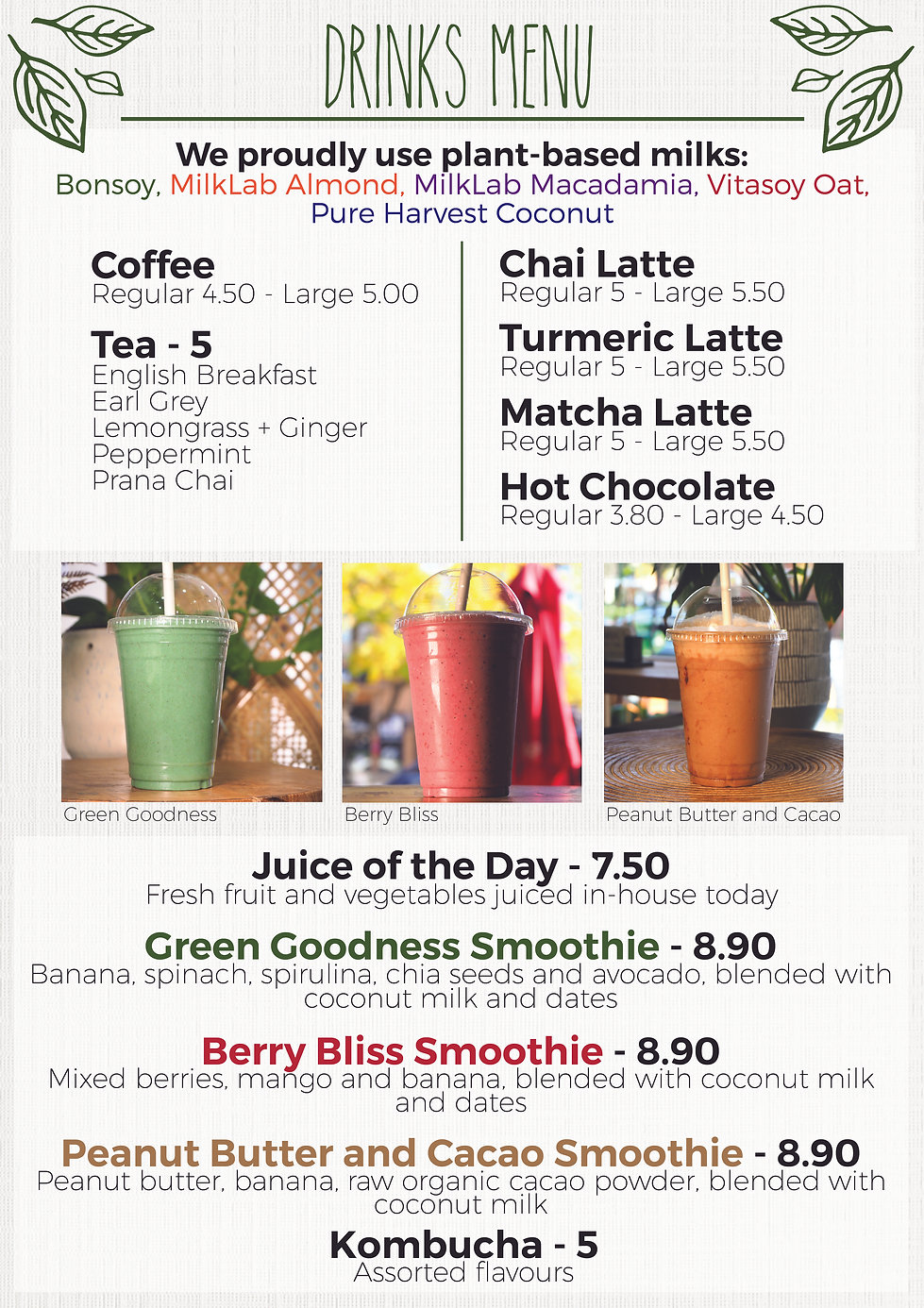 Drinks Menu - Samadhi Whole Foods