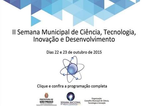 Programação da II Semana Municipal de Ciência, Tecnologia, Inovação e Desenvolvimento