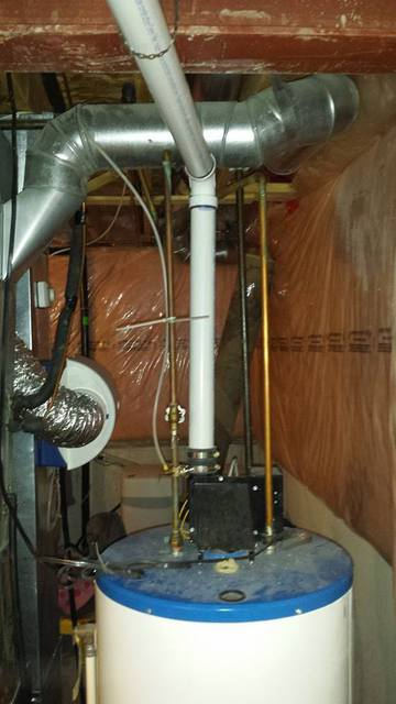 Water heater repair with new venting.