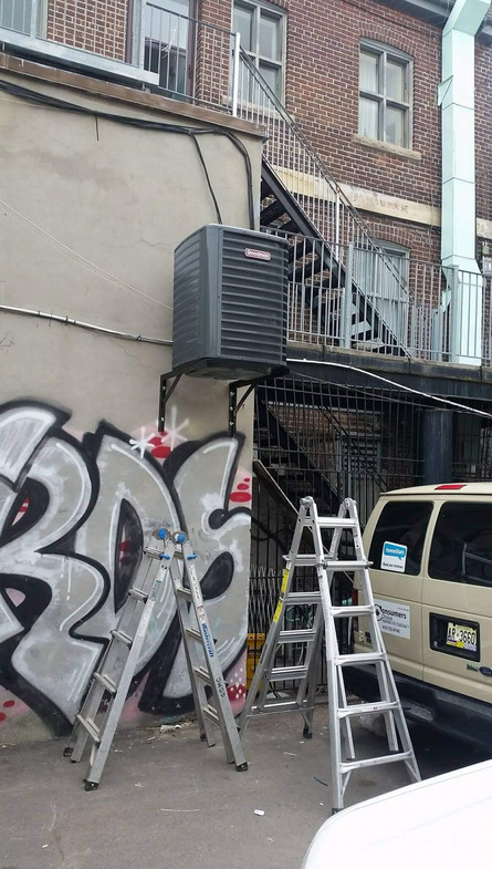 New air conditioner installed in a downtown restaurant.