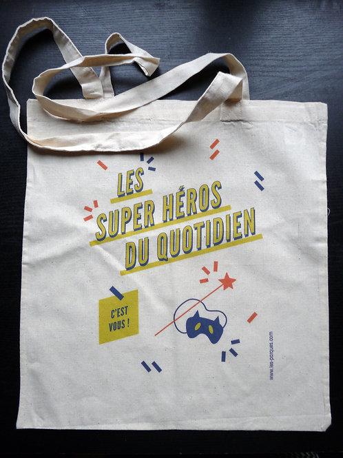 """SAC Imprimé """"Le super-héros c'est vous"""""""