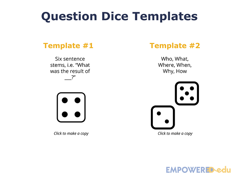 Question Dice Templates